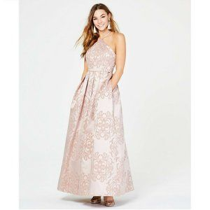 Teeze Me 7/8 Blush Pockets Glitter Gown NWT BZ50